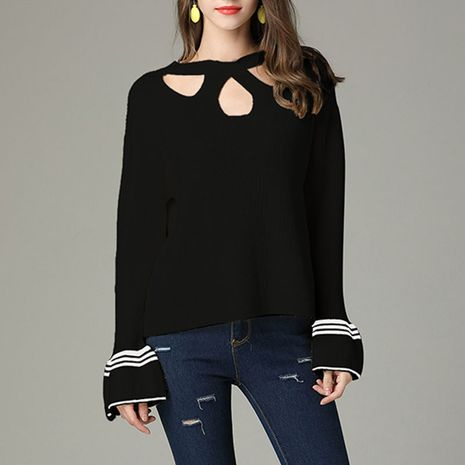 Autumn and winter sexy hollow hanging neck striped rabbit wool trumpet sleeve sweater NHEK271266's discount tags