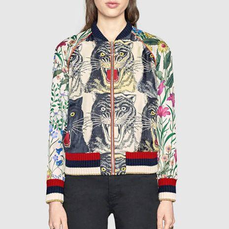 chaqueta de lentejuelas bordadas con estampado de cuatro cabezas de tigre NHEK271262's discount tags