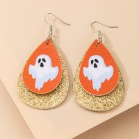 leather drop-shaped double-sided printed leather earrings  NHGY271267