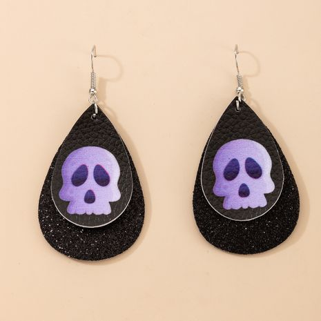 New Halloween double-layer leather  skull sequins earrings NHGY271260's discount tags