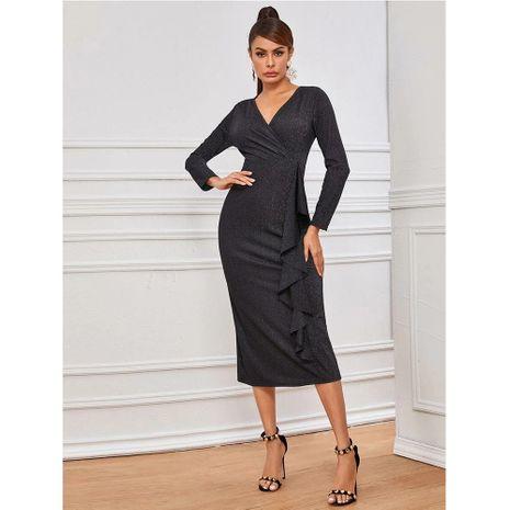 nuevo vestido de costura delgada de cadera con bolsa de bronceado irregular de manga larga NHJG271258's discount tags