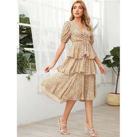 new chiffon floral V-neck lace short sleeve elegant cake dress NHJG271259