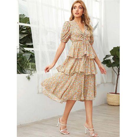 nuevo vestido de pastel elegante de gasa con cuello en V y encaje floral de manga corta NHJG271259's discount tags