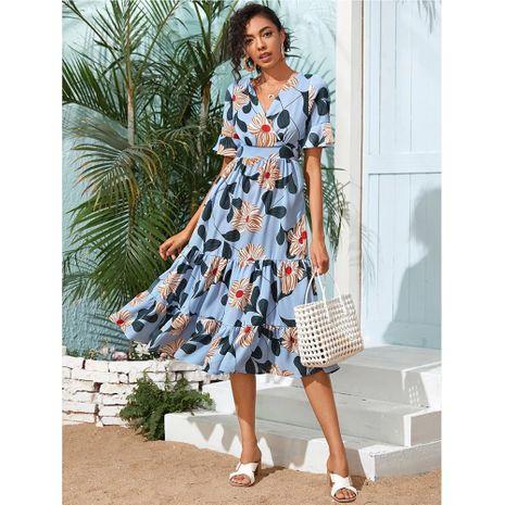 nuevo vestido elegante de gasa con cuello en v de flores grandes y acampanado swing beach NHJG271263's discount tags