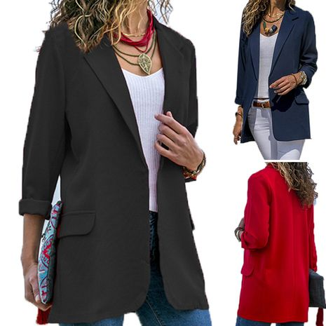 New splicing slim solid color long-sleeved suit jacket NHIS271245's discount tags