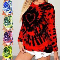 new  women's blouse love tie-dye printing long-sleeved top NHIS271236
