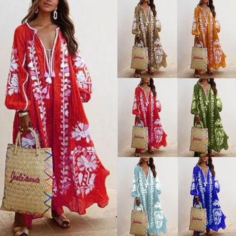 long sleeve printed dress  NHUO271229's discount tags