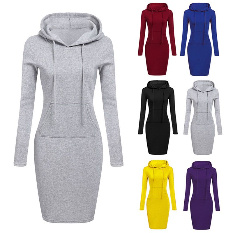 new style hooded laceup longsleeved waist fashion casual sweater dress NHUO271228