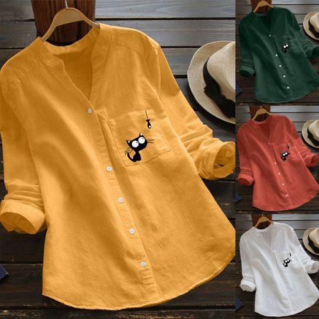 nueva camisa holgada estampada de algodón y lino NHJC271227's discount tags