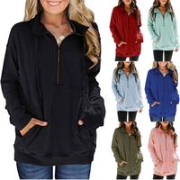 Zipper long sleeve solid color casual sweater women's top NHJC271013