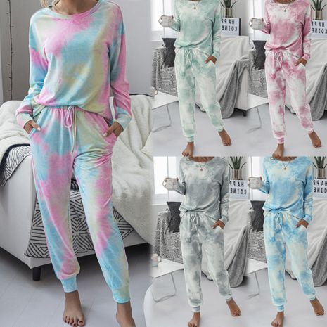 new round neck casual printing long-sleeved sports suit NHJG271012's discount tags