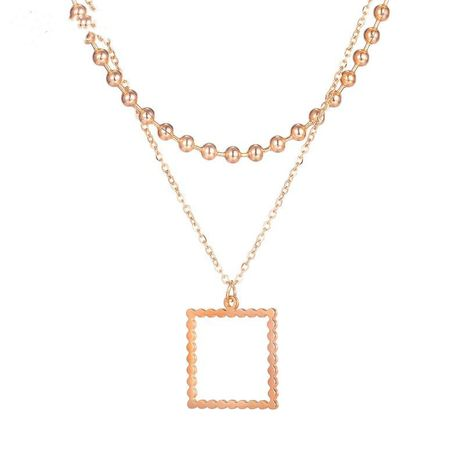simple rose gold plated geometric Korean creative square necklace NHOP271020's discount tags