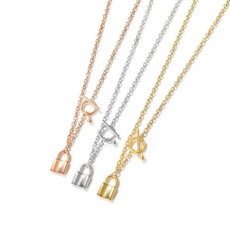 Korean lock plated rose gold titanium steel pendant necklace NHOP271025's discount tags