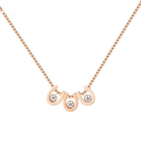 Korean all-match titanium steel light luxury rose gold-plated necklace NHOP271028's discount tags