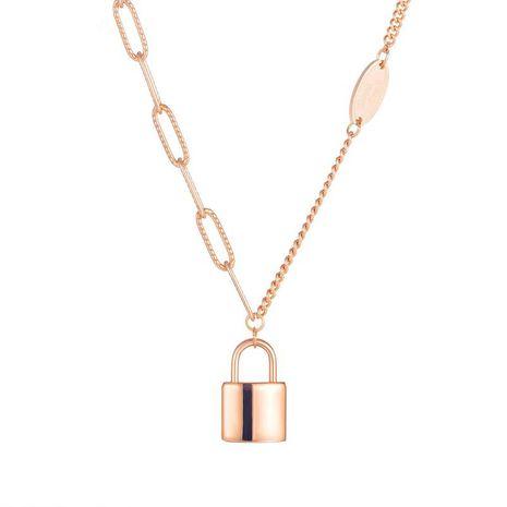 Korean retro autumn and winter simple lock titanium steel necklace  NHOP271031's discount tags