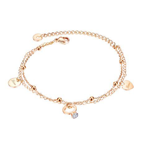 Bracelet coréen en acier titane double coeur simple perle ronde NHOP271036's discount tags