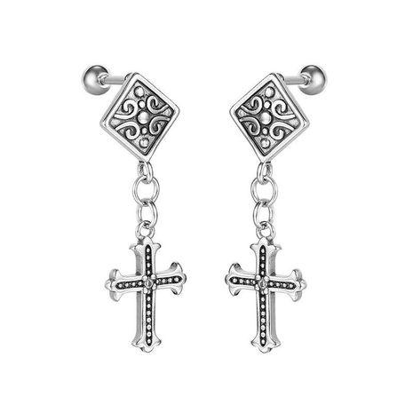 Pendientes personalizados de cruz de acero de titanio retro para hombres al por mayor NHOP271038's discount tags