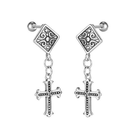 retro men's titanium steel cross personalized earrings wholesale NHOP271038's discount tags