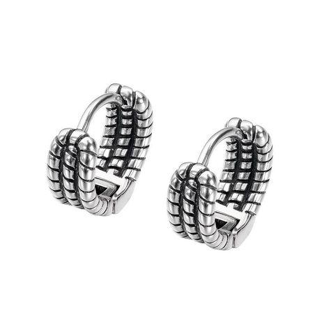 vintage old multi-layer twist chain titanium steel men's earrings NHOP271044's discount tags