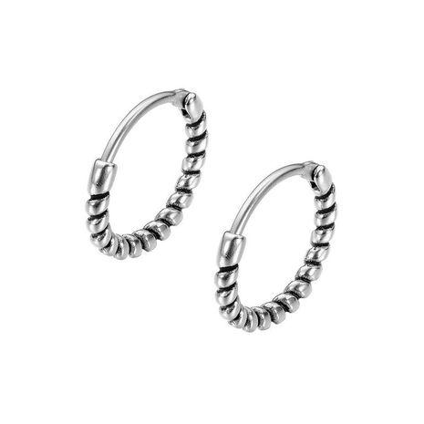 nouvelles boucles d'oreilles en acier titane pour hommes à courbe sinueuse rétro NHOP271046's discount tags