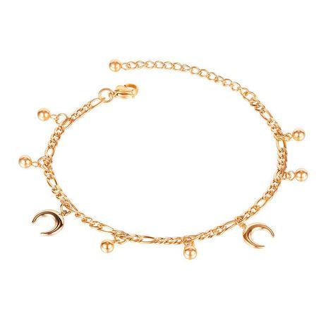 Bracelet de cheville en acier titane plaqué or rose avec perles NHOP271048's discount tags
