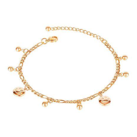 nouveau bracelet de cheville en acier titane visage souriant rond populaire NHOP271051's discount tags