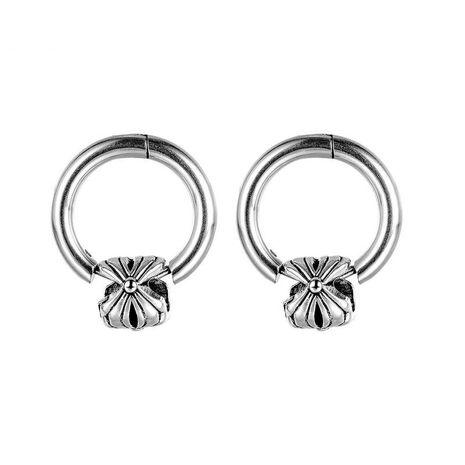 nuevos pendientes de hombre de acero de titanio retro flor NHOP271056's discount tags