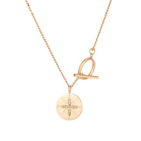 disc creative Roman letter titanium steel necklace NHOP271060's discount tags