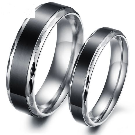 Anillo de pareja de acero titanio retro simple negro coreano NHOP271068's discount tags
