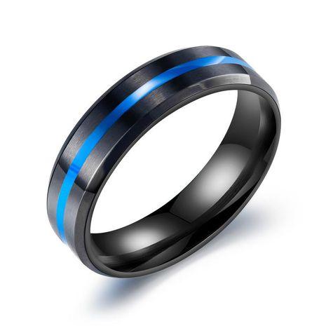 bague pour homme en acier titane bleu noir NHOP271086's discount tags