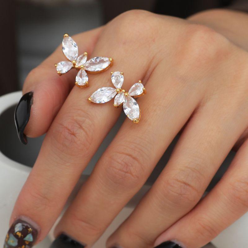 Zircon Butterfly Open  Ring  NHIM271123