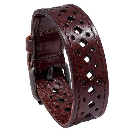 Bracelet en cuir large pour hommes creux rétro en cuir de vachette NHPK271156's discount tags