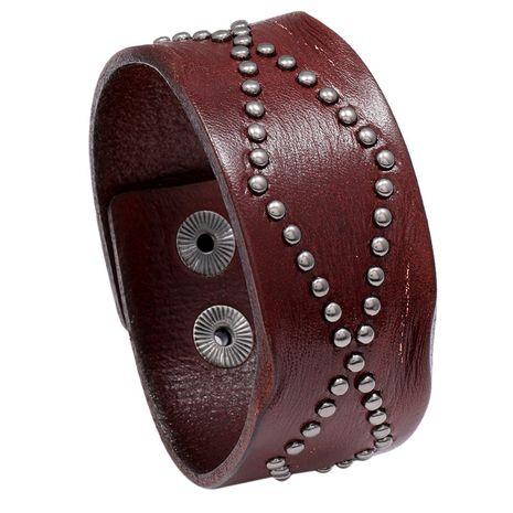 Bracelet en cuir large rivet rétro style punk style punk NHPK271160's discount tags