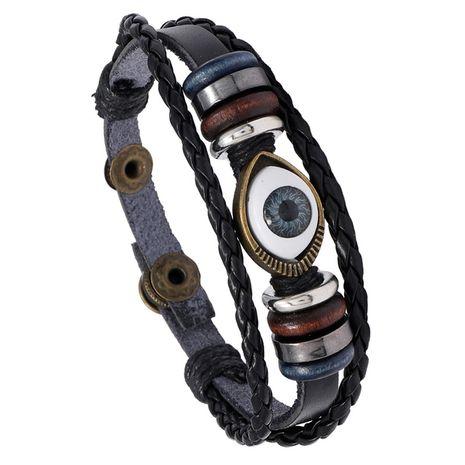 Bracelet en cuir tressé œil bleu NHPK271162's discount tags