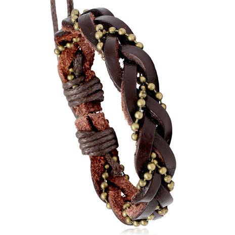Bracelet en cuir de vachette à chaîne de perles tissées rétro NHPK271164's discount tags