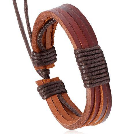 bracelet en cuir hip-hop tissé à la main NHPK271166's discount tags