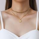 retro hiphop queen portrait round card multilayered titanium steel necklace NHOK271178