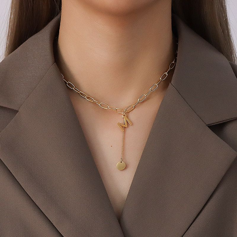 retro fashion M letter English tassel round disc titanium steel necklace NHOK271185