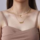 Retro imitation baroque freshwater beads folds moon crescent pearl necklace NHOK271192