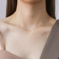 collar de acero de titanio con corazón de melocotón pequeño de moda NHOK271198