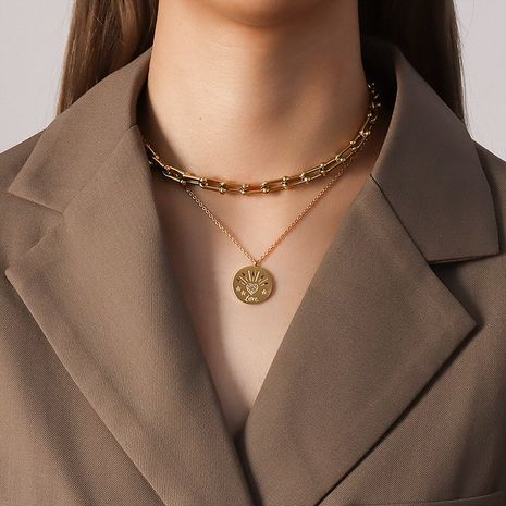 lucky symbol heart coin titanium steel non-fading necklace NHOK271208's discount tags
