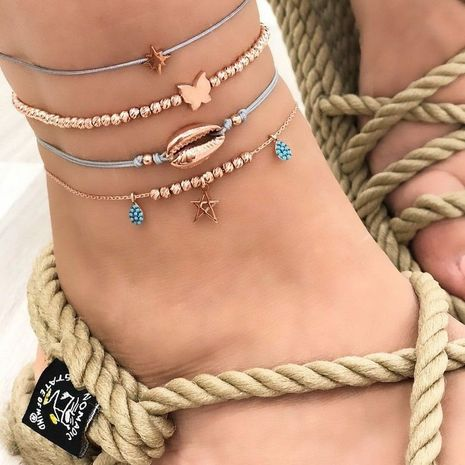 new  fashion creative butterfly shell rhinestone 4-piece anklet NHAJ271274's discount tags