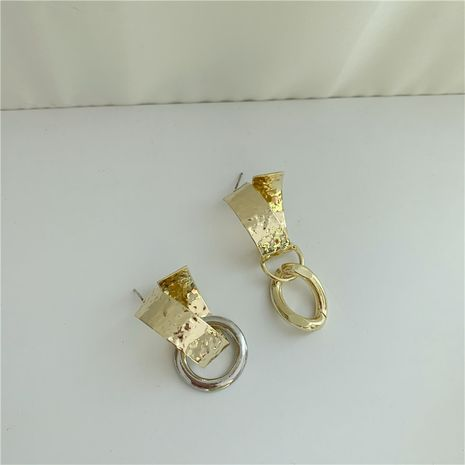 new gold  silver mixed color wide surface concave-convex earrings NHYQ271303's discount tags