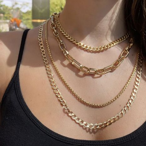 popular punk hip-hop style multi-layer metal thick chain necklace NHLL271320's discount tags
