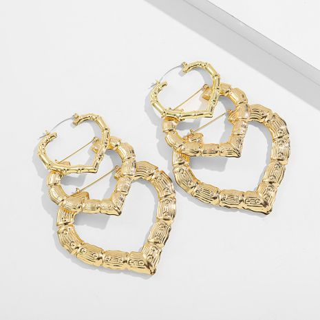 exaggerated bamboo fashion peach heart earrings NHLL271318's discount tags