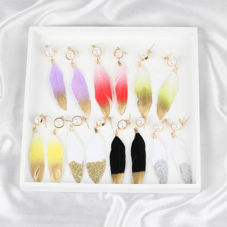 Fashion autumn and winter tassel feather pearl earrings NHRN271324's discount tags