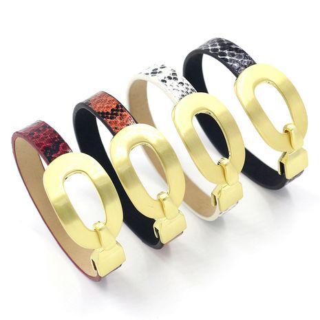 Nouveau bracelet créatif en cuir de serpent plaqué or avec fermoir crochet NHHM271333's discount tags