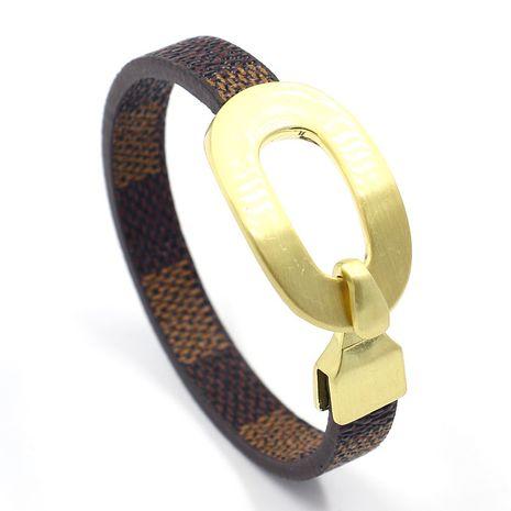 bracelet en cuir PU à carreaux marron NHHM271334's discount tags