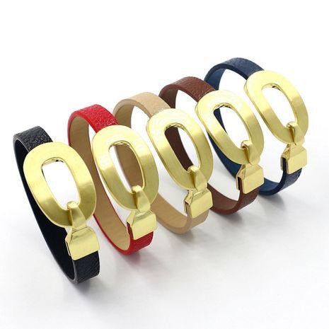 nouvelle mode boucle de crochet en alliage d'or cercle unique motif litchi bracelet en cuir PU NHHM271336's discount tags