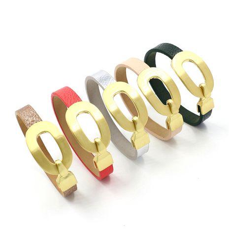 Nouveau mode en alliage d'or crochet fermoir motif litchi bracelet en cuir PU NHHM271337's discount tags
